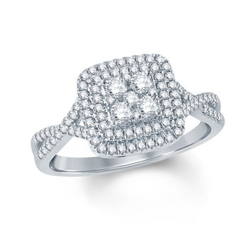1/2 CT. T.W. Composite Diamond Double Square Frame Engagement Ring in 10K White Gold