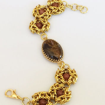 Brown and Red Coprolite Cabochon with Red Indian Agate Beads and Gold Chainmaille -- Product B015