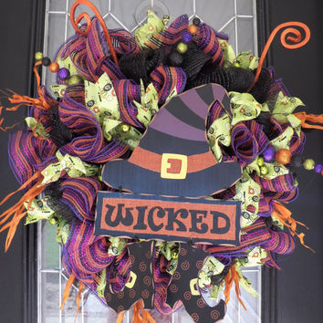 XL Halloween Wreath, Halloween Decoration, Door Hanger, Fall Wreaths, Front door wreath, Ready to Ship
