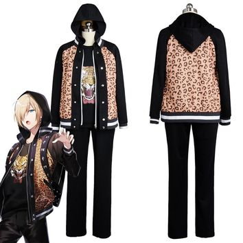 Anime Yuri On Ice Yuuri Plisetsky Cosplay Costume Daily Suit Leopard Jacket coat for men women