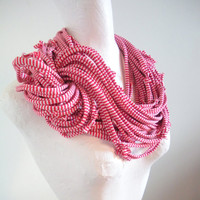 Red White Candy Stripes Infinity Scarf Chunky Cowl Scarf Upcycled Neck Warmer Winter Accessories Gifts Under 75 Cyber Monday Etsy