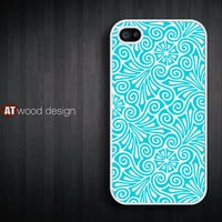 iphone case iphone 4 case iphone 4s case iphone 4 cover blue flower graphic design printing