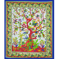 Large White Tree of Life Tapestry Wall Hanging Bedding Bedspread on RoyalFurnish.com