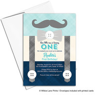First birthday invitation boy | mustache birthday party invitation | Little man birthday invites suspenders | printable printed  - WLP00324