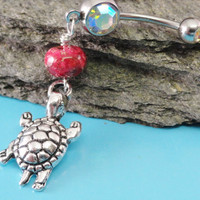 Turtle Belly Button Ring Pink Jasper Silver by MidnightsMojo