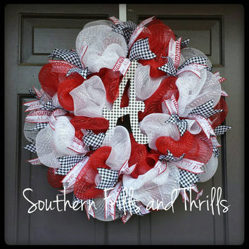 FREE SHIPPING Alabama Wreath, Bama Wreath, UA, University of Alabama, Deco Mesh Wreath, Houndstooth