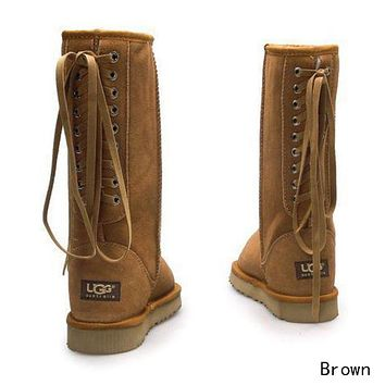 UGG Popular Women Winter Warm Strappy Leather Half Boots Shoes Brown