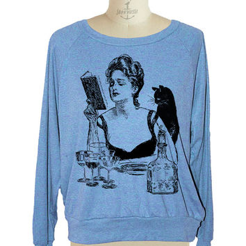Womens CAT sweatshirt witch Magic potion raglan pullover American Apparel 3 COLORS (sm med lg )