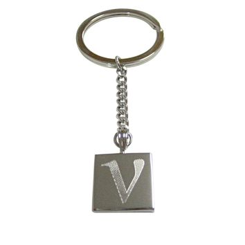 Silver Toned Etched Greek Letter Nu Pendant Keychain