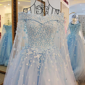 2017 Luxury Wedding Dress Sky Blue Wedding Dresses With Cape Beading Lace Ivory Bridal Gowns Custom Made robes de mariee China