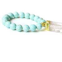 Turquoise and Crystal Quartz Dipped in Gold Bracelet