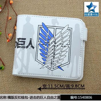 Cool Attack on Titan White Anime  Wings of Liberty Horizontal Wallet/Short Purse With Button AT_90_11