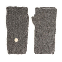 Grey Virgin Wool Hooded Mittens by Lowie