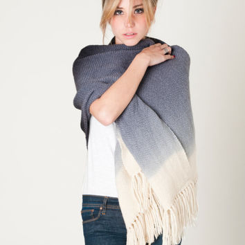 Gray Ombre handwoven wrap, merino wool dip dye shawl by Texturable