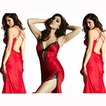 Women Sexy Lingerie Satin Babydoll Night Cross Backless Lace Dress G-string Sleepwear&Dropshipping INY66