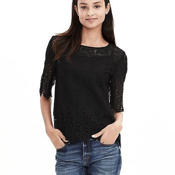 Banana Republic Womens Heritage Scalloped Lace Top