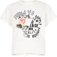Petite white rose print open back T-shirt - print t-shirts / tanks - t shirts / tanks - tops - women