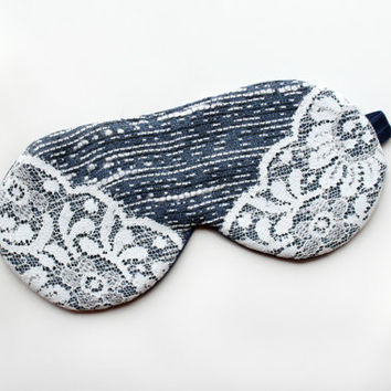 Lace Sleep Mask, Navy Sleep Mask, Satin Eye Mask, Blue Sleep Mask, Travel Mask, Cute Mask