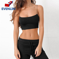 EVENLIM Casual Cotton Black Camisole Crop Top Women Summer Sleeveless Camis Tank top Basic Backless Slim White Camis Tops DR0098