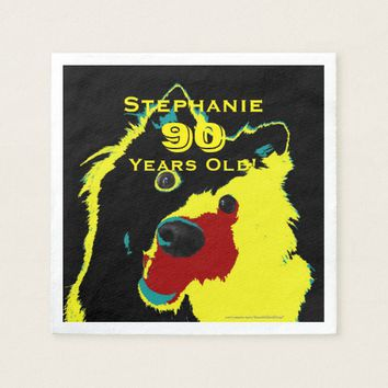 Happy Yellow Dog Paper Napkins 90th Birthday Party