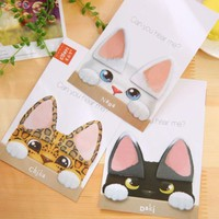 1pack/lot Novelty Kawaii Cat Ears design Memo Notepad Writing scratch pad message note Students' gift office school supplies