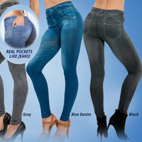 2015 hot selling women's slim leggings blue and black jean girls leggings with 2 real pockets = 5709392641