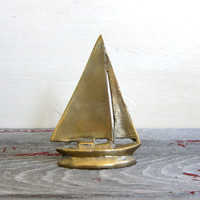 20% OFF SALE small Vintage brass sailboat