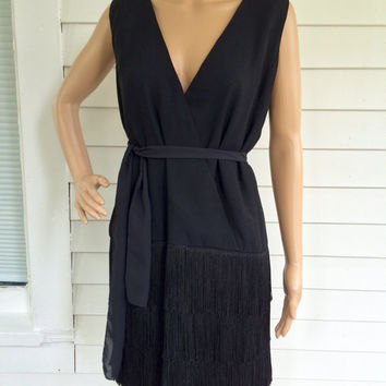 Flapper Fringe Dress Retro 60s Mod Black Cocktail Party Vintage Sandi Monica M L