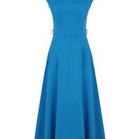 Blue Cap Sleeve Maxi Dress