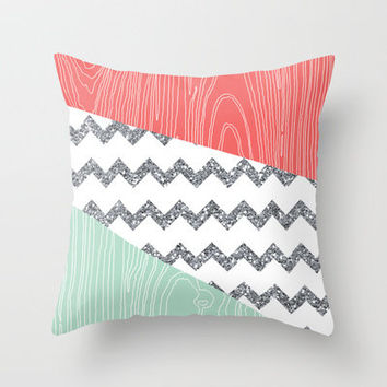 Wood Grain & Glitter Throw Pillow by PrintableWisdom | Society6