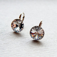 Swarovski white clear crystal dangle earrings Small crystal rivoli dangle sterling silver leverback earrings