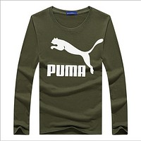 Puma long-sleeved T-shirt cotton round neck printed autumn clothing Korean youth long-sleeved shirt  Army green