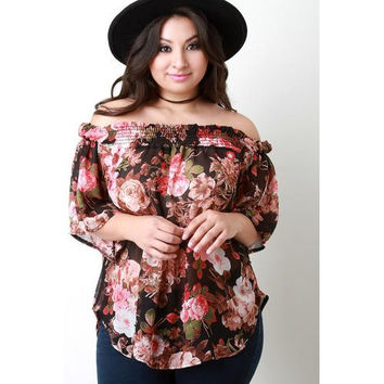 Off The Shoulder Floral Chiffon Top