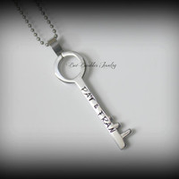 Hand Stamped Skeleton Key - Stainless Steel - Couples Necklace