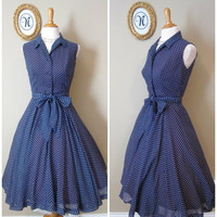 Vintage 1950 ~ 50's Poka Dot Swing Dress.