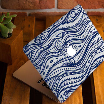 Blue Henna Waves MacBook Air Cover MacBook 12 Case Macbook Pro Retina Hard Case MacBook Air 13 Case MacBook Cover Apple Case Macbook Case 15