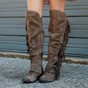 Naughty Monkey Fringe Thrills Genuine Suede Taupe Over The Knee Equestrian Boot