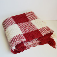 Vintage Blanket Pendleton Blanket Wool Blanket Throw Blanket Cranberry and White Winter Blanket