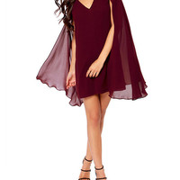 Burgundy Pleated Cape Sleeve V-Neck Mini A-Line Dress