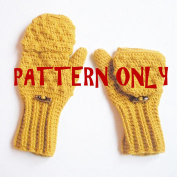 Pattern Only, Womens Convertible Mittens Crochet Pattern.