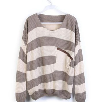 CREYUG3 Light Coffee White Stripes Pocket Long Sleeve Pullover Sweater