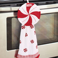 2-Pc Holiday Peppermint Kitchen Set Towel & Pot Holder Christmas Home Decor