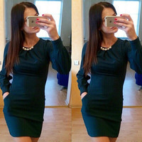 Hot Sale 3-color Pearls Long Sleeve Round-neck One Piece Dress [11545810959]