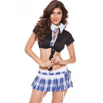 Trendy Crop Top + Plaid Mini Skirt Women's Cosplay Suit