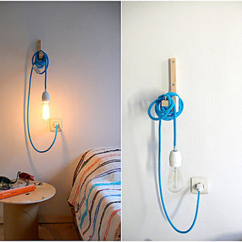 Textile cable lamp with switch and plug - blue