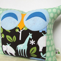 Smile owl pillow/Teal /Animal  garden owl pillow/for him/for baby gift