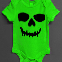 Baby Boy Baby Girl GREEN SKULL Onesuit