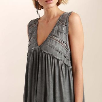 Crochet & Ruffled Gray Soft Tank