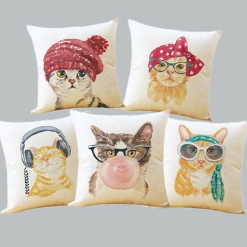 Cute Lovely Cat Decorative Cushion Cover Cotton Linen Square Throw Pillow Cover