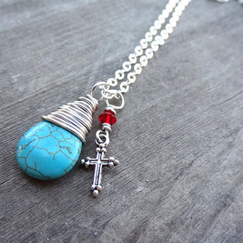 Silver Blue Turquoise Red Crystal Cross Charm handmade wire wrapped pendant necklace Christian Religious Jewelry